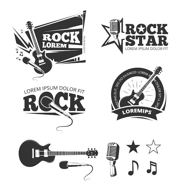 Negozio di musica rock, studio di registrazione, karaoke club etichette vettoriali, stemmi, loghi emblemi con musica in Vettore Premium