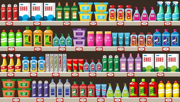 Negozio di prodotti chimici domestici e detergenti Vettore Premium