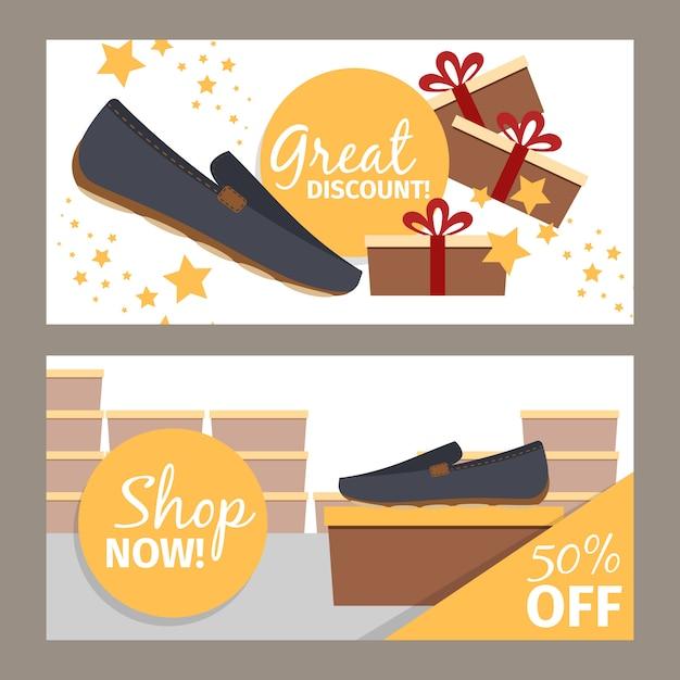 Negozio di scarpe da uomo banner set Vettore Premium