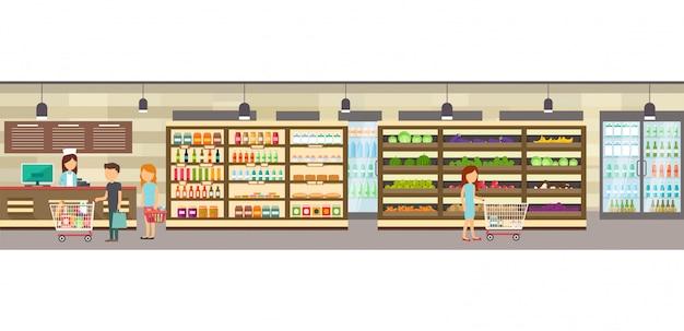 Negozio di supermercati con merci. Vettore Premium