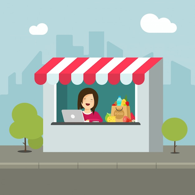Negozio o negozio al dettaglio edificio su strada piatta cartone animato Vettore Premium