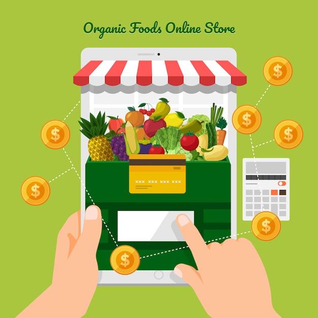 Negozio online di frutta e verdura Vettore Premium