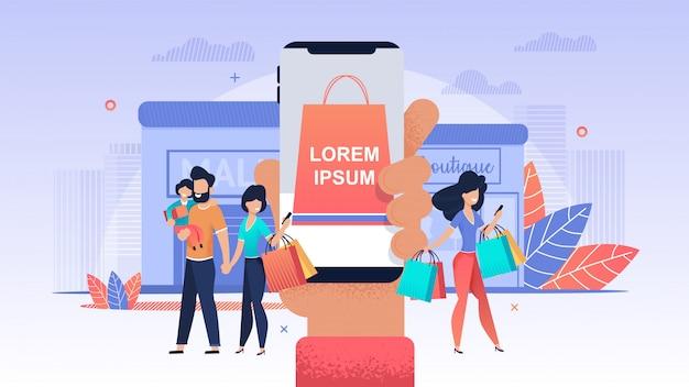 Negozio online. le donne acquistano un negozio mobile. Vettore Premium