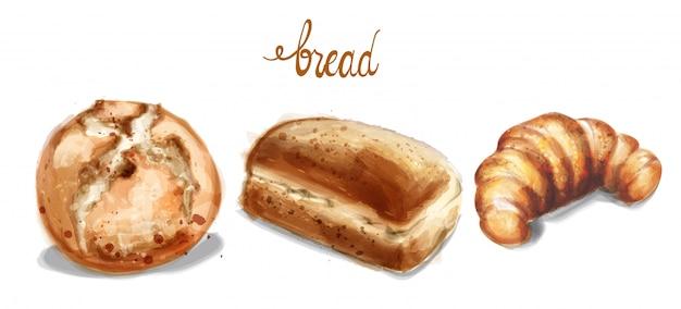 Nell'illustrazione dell'insieme di pane dell'acquerello Vettore Premium