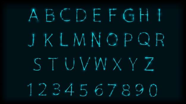 Neon abc lettere simbolo composto. disegna alfabeto romano e numeri con effetto neon Vettore Premium