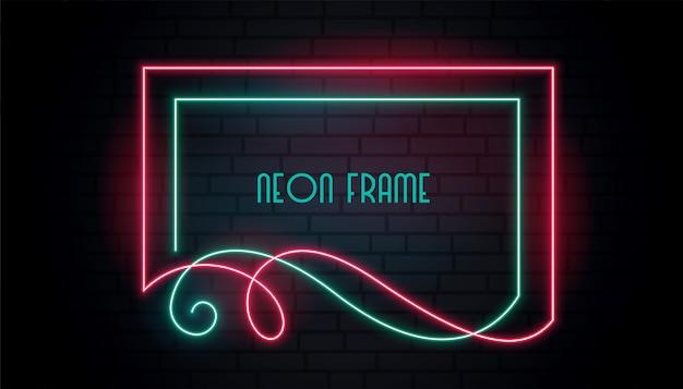 Neon attraente cornice in stile floreale turbolenza Vettore gratuito