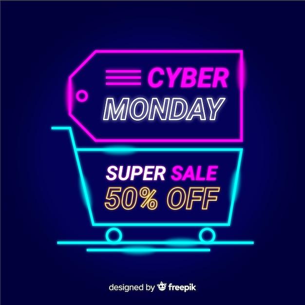 Neon cyber lunedì con etichetta e carrello Vettore gratuito