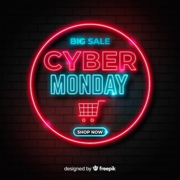 Neon cyber lunedì e carrello Vettore gratuito