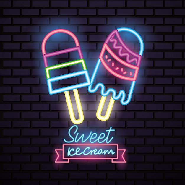 Neon di caramelle dolci Vettore gratuito