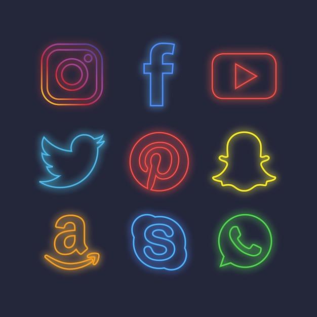 Neon social media icons Vettore gratuito