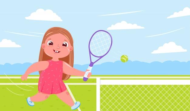 Neonata sveglia che gioca a tennis con la racchetta alla corte. fare sport vita sana. routine quotidiana. Vettore gratuito