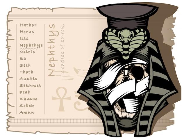 Nephthys è la dea della tristezza nell'antica mitologia egizia Vettore Premium
