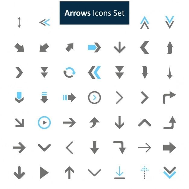 Nero e blu frecce icone set Vettore gratuito