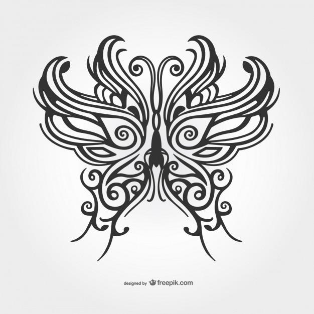 Nero farfalla tatuaggio vettoriale Vettore gratuito