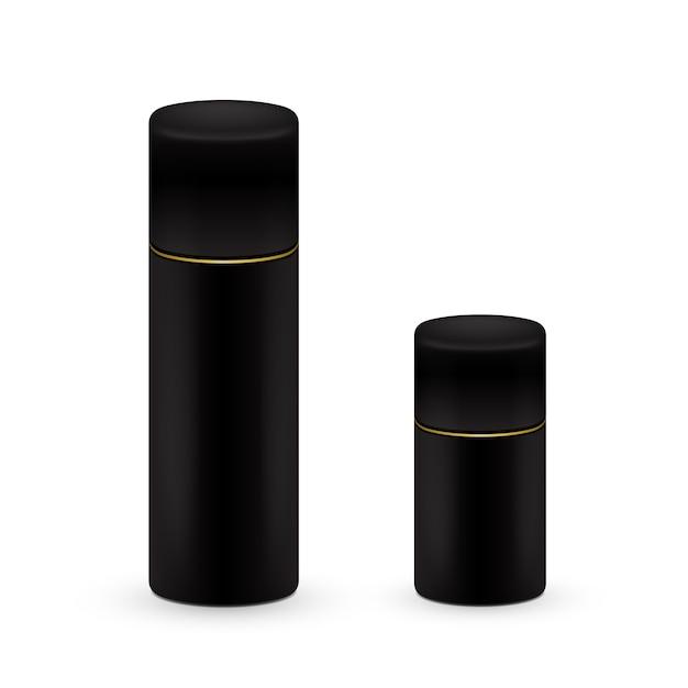 Nero grandi e piccole bottiglie di spray aerosol, bottiglia di metallo per cosmetici, profumi o spray per capelli. imballaggio deodorante. Vettore Premium