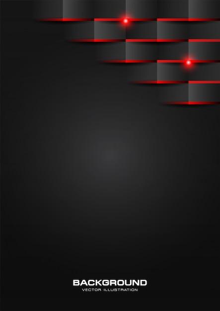 Nero motivo geometrico astratto con luce rossa lucida Vettore Premium
