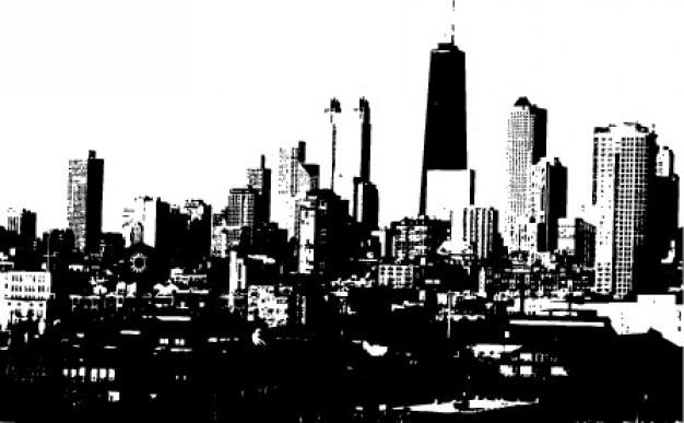 Nero Skyline Della Città In Bianco E Nero Sfondo Vettore