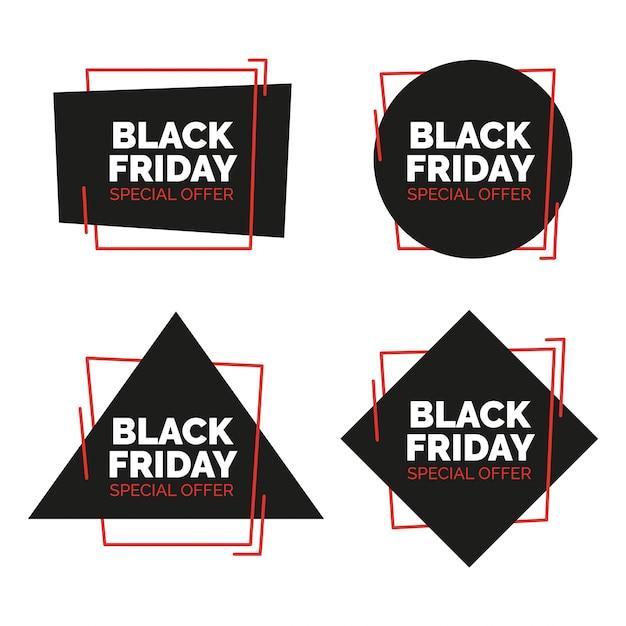 Nero venerdì vendita banner impostato. illustrazione vettoriale. Vettore gratuito
