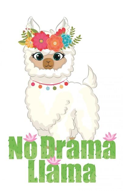 Nessun drama lama chibi cita la grafica con ghirlanda di fiori e cactus Vettore Premium