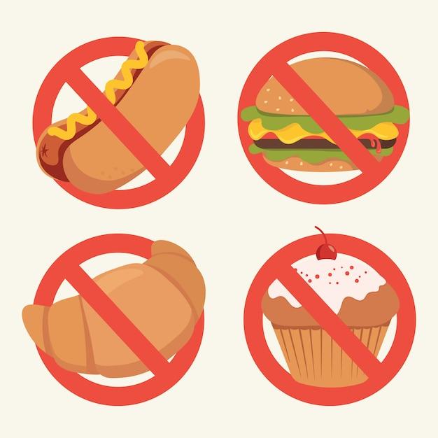 Nessun fumetto di segno di fast food, nessun segno di hot dog, hamburger, cupcake, cornetto Vettore Premium