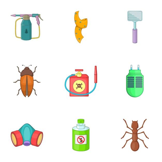 Nessun set di insetti, stile cartoon Vettore Premium