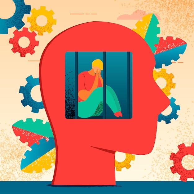Neurologia di personaggi moderni e colorati Vettore Premium