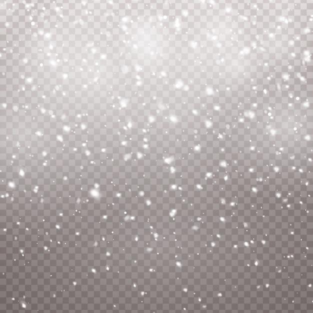 Neve che cade di natale. fiocchi di neve, forti nevicate. Vettore Premium