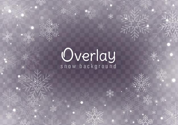 Neve che cade di natale, fiocchi di neve, forti nevicate. Vettore Premium