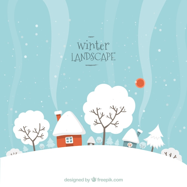Nevoso paesaggio invernale Vettore gratuito