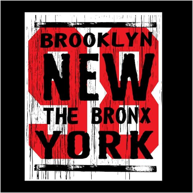 New york brooklyn con la tipografia di numero Vettore Premium