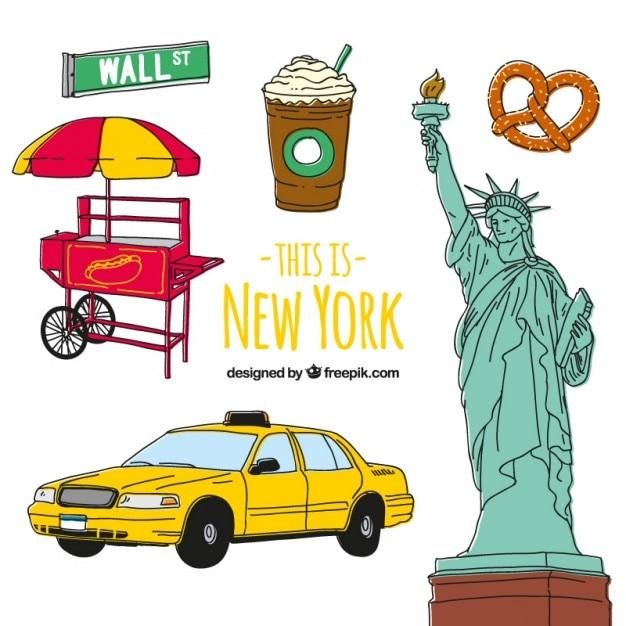 New york elementi culturali disegnati a mano Vettore gratuito