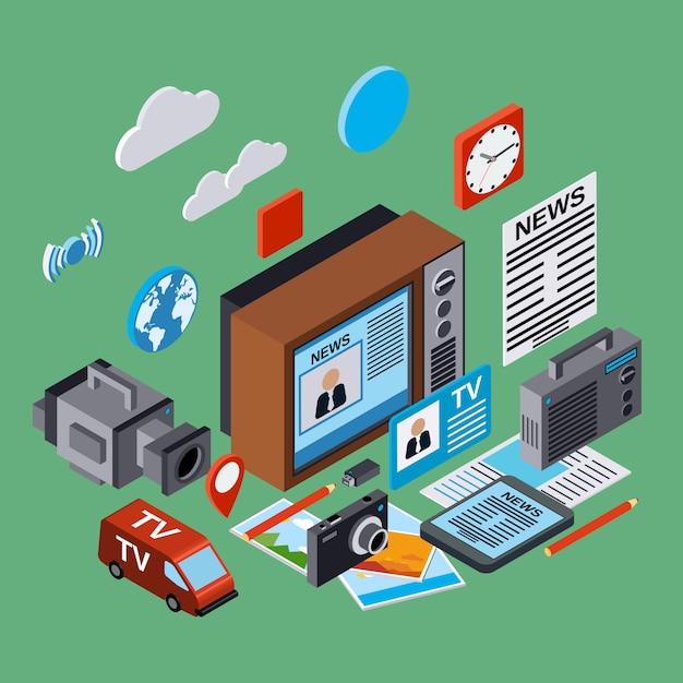 Newscast, informazione, radiodiffusione, giornalismo, mass media illustrazione 3d isometrica piana. concetto di infografica moderna web Vettore Premium