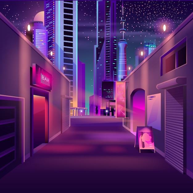 Night bar nel cartone animato metropoli moderna Vettore gratuito