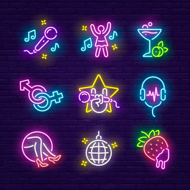 Night club, discoteca e karaoke insegna al neon Vettore Premium