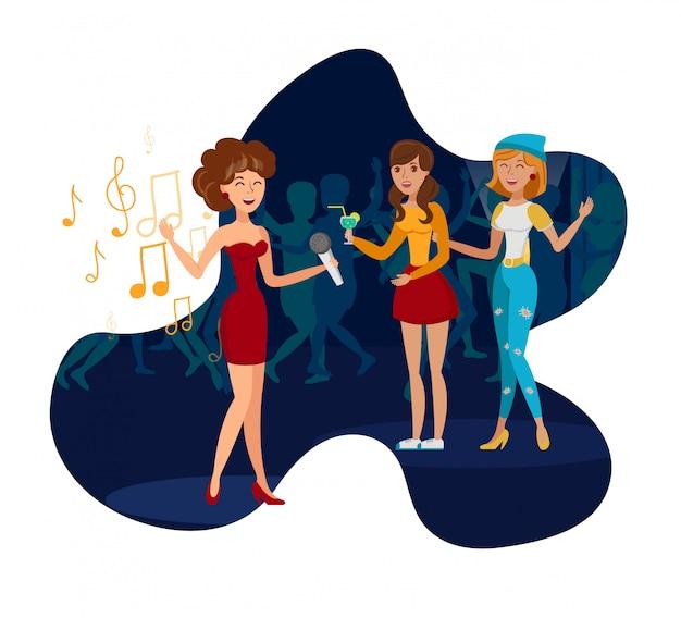 Night club party, concert flat vector illustration Vettore Premium