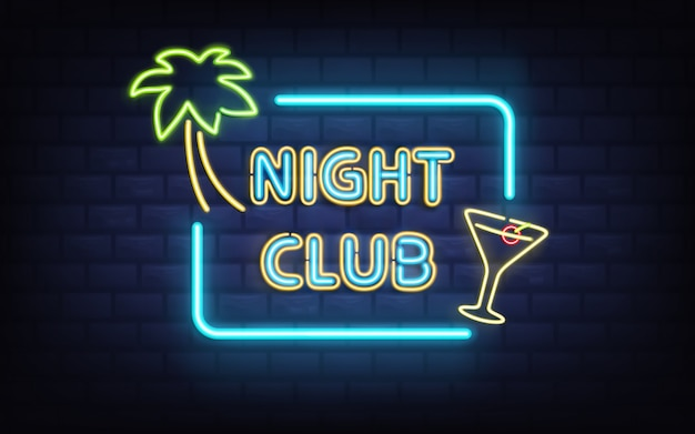 Night club tropicale, cocktail bar o pub in stile vintage Vettore gratuito