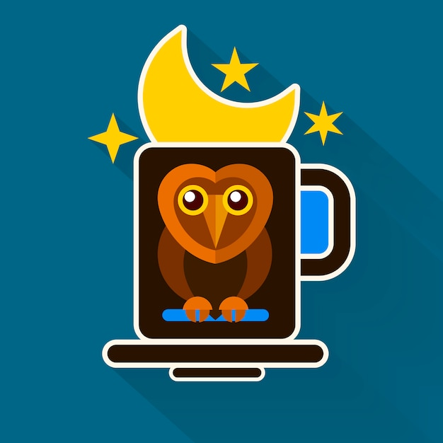Night owl and moon design originale Vettore Premium