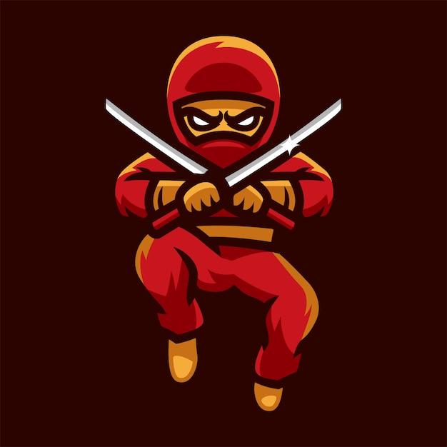 Ninja che salta il logo di esports Vettore Premium