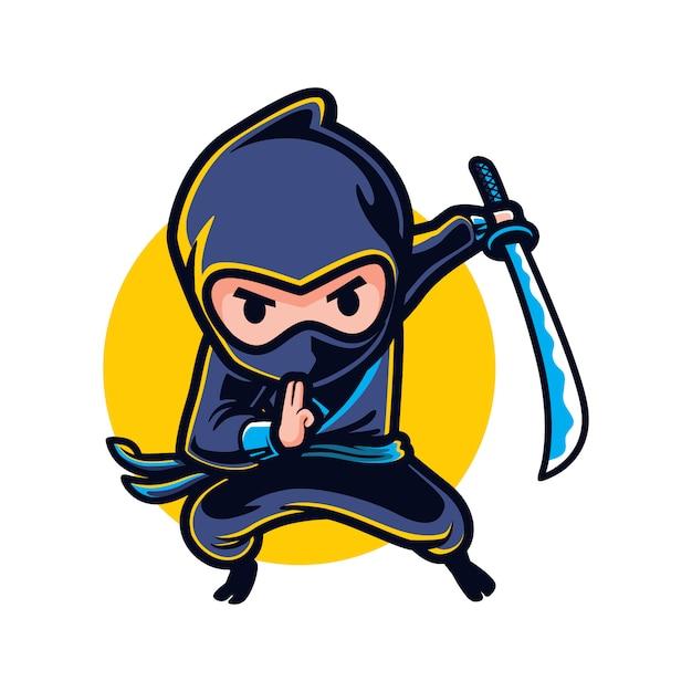Ninja dei cartoni animati Vettore Premium