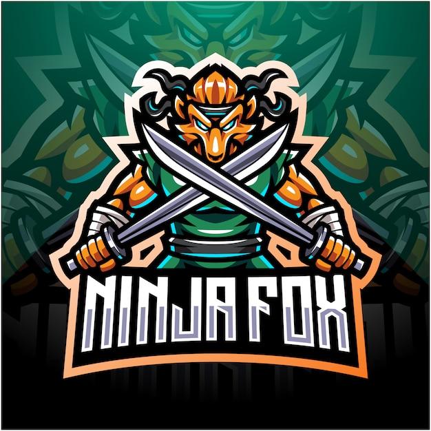 Ninja fox esport mascotte logo design Vettore Premium