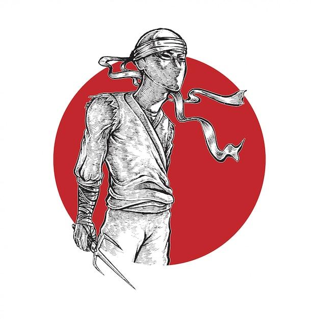 Ninja holding weapon illustration Vettore Premium