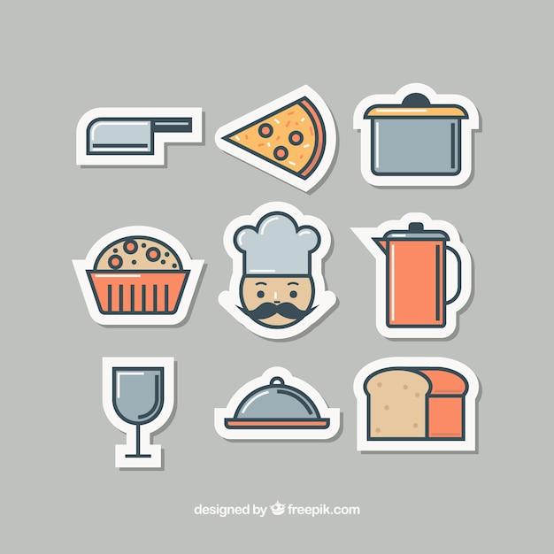 Nizza adesivi per oggetti da cucina e chef scaricare vettori gratis - Oggetti da cucina ...