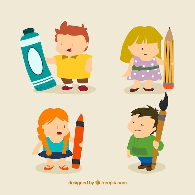 Nizza I Bambini Artistici In Stile Cartone Animato Scaricare