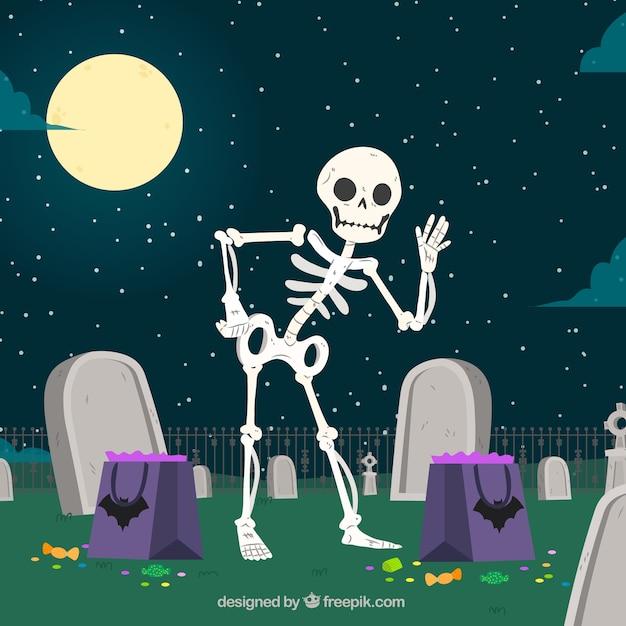Nizza scheletro di fondo nel cimitero Vettore gratuito