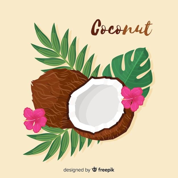 Noce di cocco disegnata a mano con sfondo di foglie Vettore gratuito