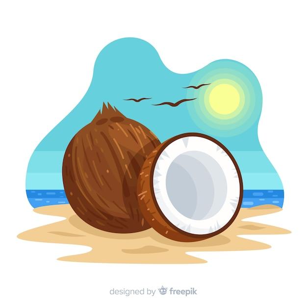 Noce di cocco disegnata a mano sullo sfondo spiaggia Vettore gratuito