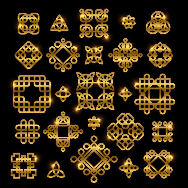 Nodi celtici dorati con elementi lucidi isolati Vettore Premium