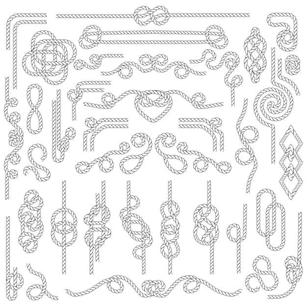 Nodo di corda. cordame marino con nodi nautici. elementi decorativi blu Vettore Premium