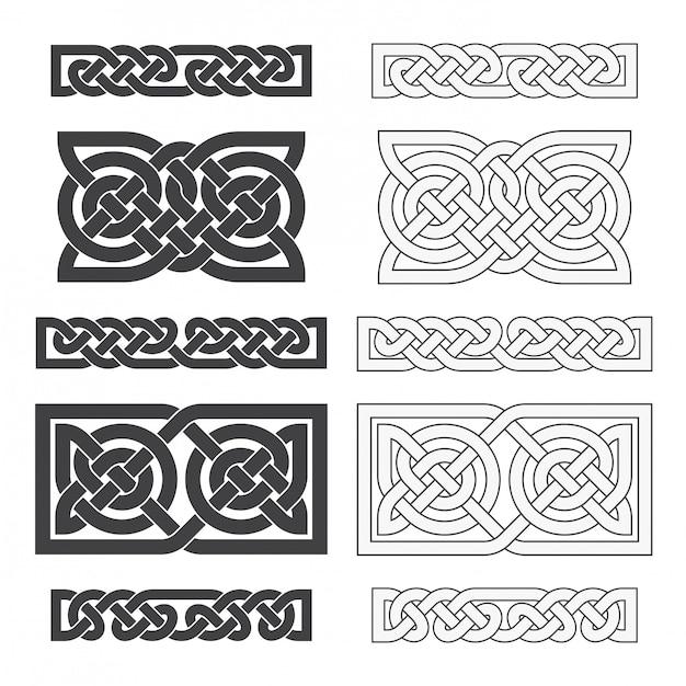 Nodo orizzontale celtico di vettore. ornamento etnico Vettore Premium