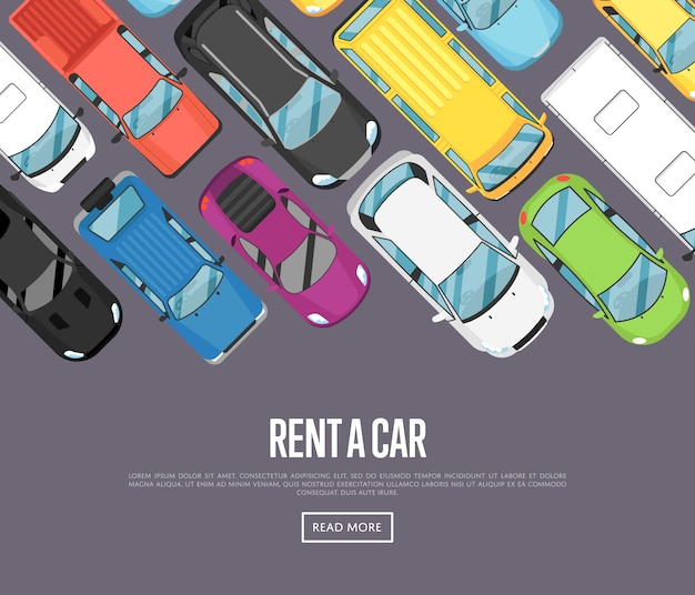 Noleggia uno striscione con le moderne city car Vettore Premium